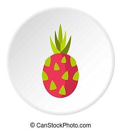 Dragon fruit icon, flat style