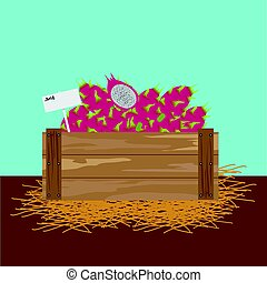 Dragon fruit in a wooden crate