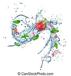Dragon fruit in water splash isolated