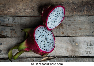 Dragon fruit on the wooden table
