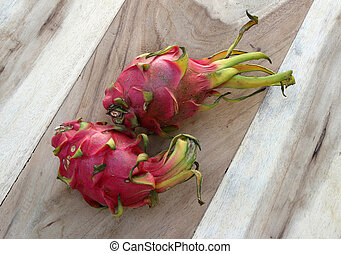 Dragon fruit on wood table