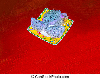 Dragon fruit pulp. Texture and background , Close up Fresh of Dragon Fruit pulp and seeds.