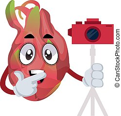 Dragon fruit with camera, illustration, vector on white background.
