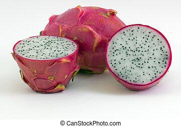 Dragon fruits on white