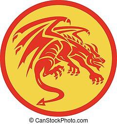 Dragon Gargoyle Crouching Circle Retro - Illustration of a...