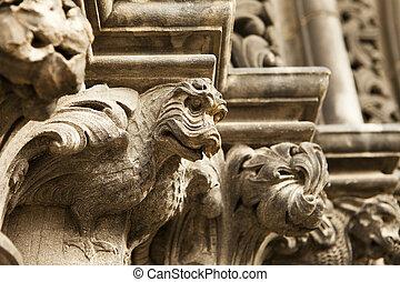 Dragon Gargoyle On Cathedral
