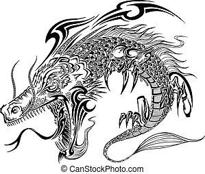 dragon, griffonnage, croquis, vecteur, tatouage