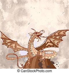 dragon grunge on the rock