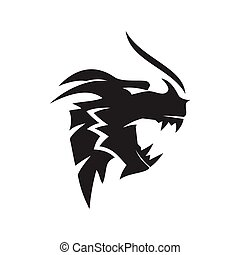 Dragon head Angry Fire mascot Design Template Isolated