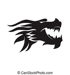 Dragon head Angry mascot Design Template Isolated