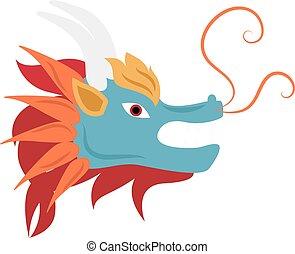 Dragon head mascot mythology chinese monster vector.