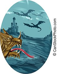 Dragon Head Castle Oval Watercolor - Watercolor style...