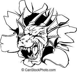 An illustration of a snarling dragon head bursting through a wall
