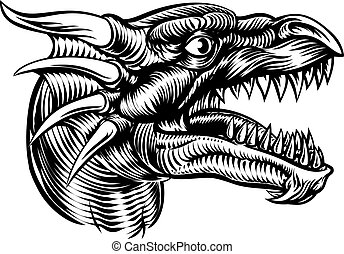 Dragon Head Design - Original illustration of a monster...