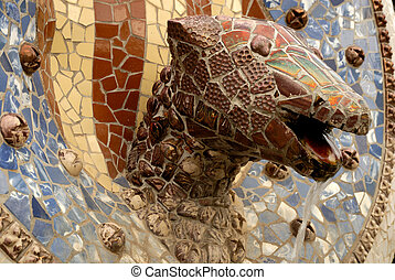 Dragon head designed by Antoni Gaudi in Park Guell, Barcelona Spain