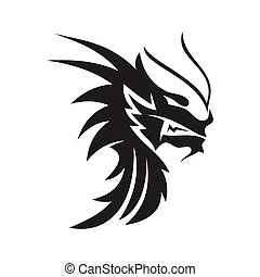 Dragon head Fire Angry mascot Design Template Isolated