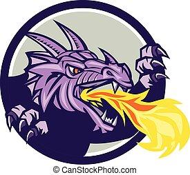 Dragon Head Fire Circle Retro