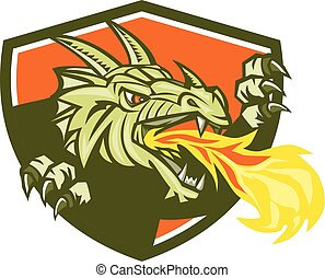 Dragon Head Fire Crest Retro