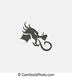 dragon head icon in a flat design in black color. Vector illustration eps10