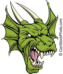 Dragon head illustration - An illustration of a mean looking...