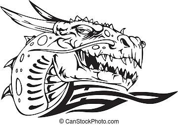 Dragon head. Black and white vector illustration.