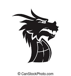 Dragon head mascot Design Template Isolated