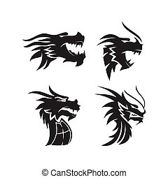 Dragon head mascot Design Template Set