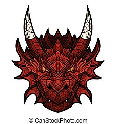 Dragon head mascot in color mosaic style. - Head of dragon...
