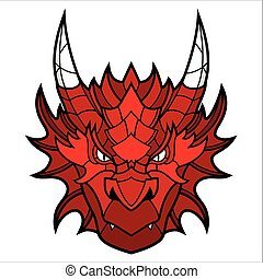 Dragon head mascot. This is isolated vector illustration...