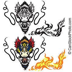 dragon head tattoo isolated o white background