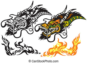 dragon head tattoo isolated on white background