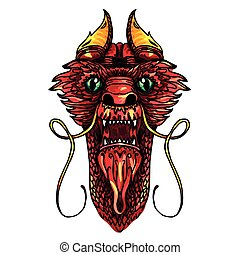 Dragon Head Tattoo - Red and Gold Dragon Head in tattoo and...