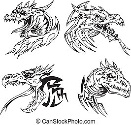 Dragon head tattoos. Set of black and white vector...