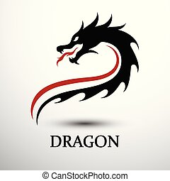 Dragon head vector - Chinese dragon head silhouette flat...