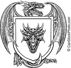 Dragon Heraldic Crest Coat of Arms Emblem Shield