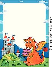 Dragon holding cake theme frame 1
