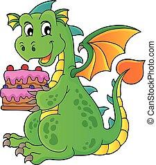 Dragon holding cake theme image 1