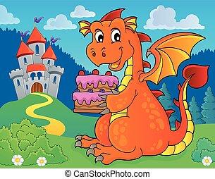 Dragon holding cake theme image 3