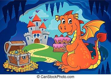 Dragon holding cake theme image 4