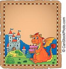 Dragon holding cake theme parchment 1