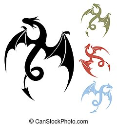 Dragon icon - Vector Dragon silhouette icon for tattoo and...