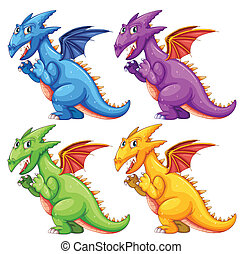 Dragon - Illustration of different color dragons