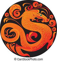 Dragon in circle.