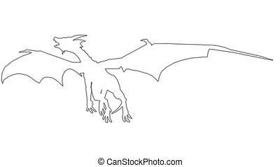 Dragon in fly. On white screen HD 2d line animation