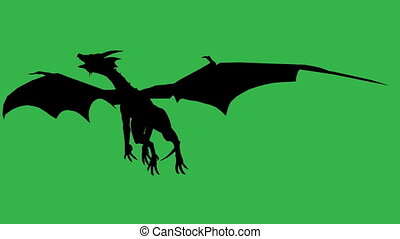 Dragon in fly silhouette made in 3d software - 3d animation...