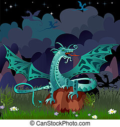 dragon in the night landscape