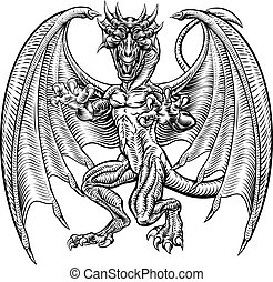 Dragon in Vintage Style - An illustration of a dragon...