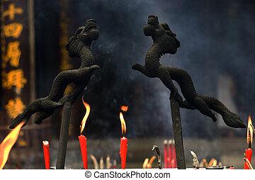 Dragon Incense Burner Baoguang Si Shining Treasure Buddhist Temple Chengdu Sichuan China Front of Temple