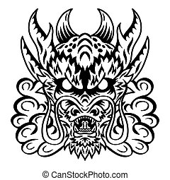 Dragon japan face. Design element for logo, badge, tattoo, t-shirt, banner, poster.