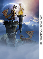 Dragon Land 2 - Two dragons guard a castle in the night. A...